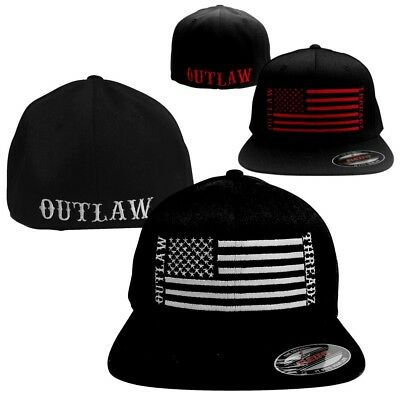 Outlaw Threadz Support Mens Caps Motorcycle Street Flexfit Hats