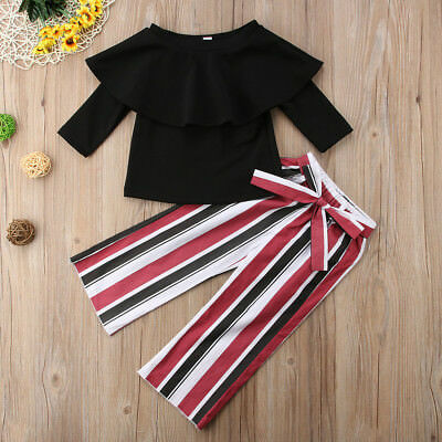 2pcs Newborn Toddler Baby Girls Off Shoulder Tops+Long Pants Outfits Set Clothes