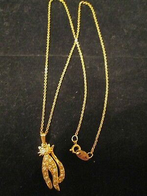 Vtg. Avon Sparkling Kitty Necklace*new No Original Box*gold-Tone/rhinestone 1992