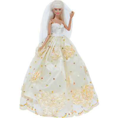 Wedding Party Gown Princess Dress + Veil Flower Clothes for Barbie Doll Toy Gift