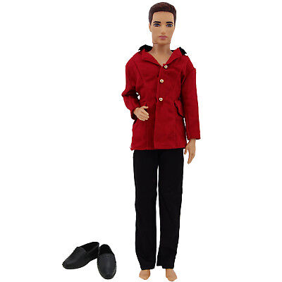 Red Jacket Black Pants Shoes Outfit Clothes Accessories For Barbie Ken Doll Gift