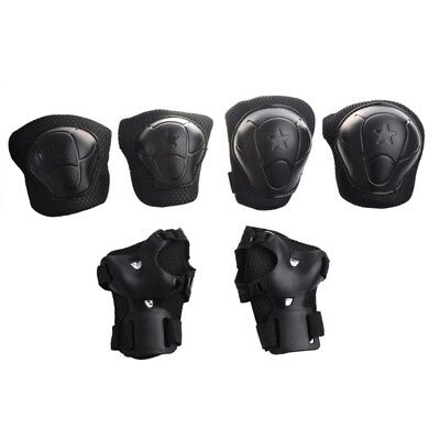3 Sets Skating Gear Knee Elbow Wrist Support Black Pads for Child W3K1
