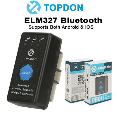 ELM327 OBDII OBD2 EOBD Bluetooth BT CAN Diagnostic Scanner Tool Android iPhone