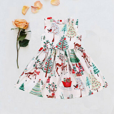 AU Toddler Kids Baby Girl Christmas Cartoon Deer Sleeveless Party Dress Clothes