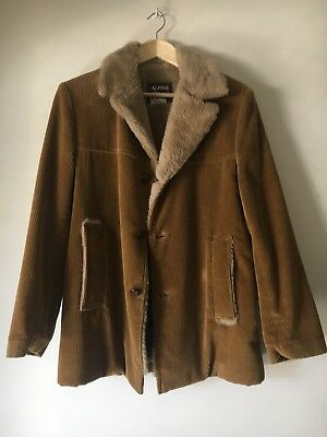 Vintage Corduroy Sherpa Jacket Surf Coat Size 36R Or Small
