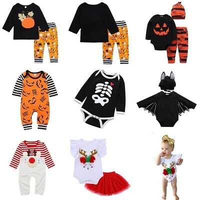 Halloween Christmas Outfits Costume Floral Animal Pattern Toddler Outerwear Set