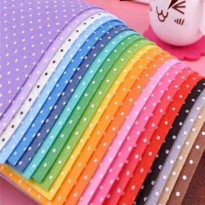 20pcs Polyester Polka Dot Printed Fabric Polyester Handmade Nonwoven Material #W