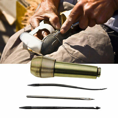 3 in1 Copper Handle Needle Sewing Awl Hand Stitcher for Leather Shoe Repair