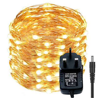 10m 20m LED DC12V Micro Rice Wire Copper Fairy String Lights Party + UK adapter