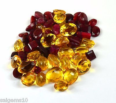 100-1000 Ct. Natural Mix Cut Ruby & Citrine Loose Gemstone Wholesale Lot Ebay