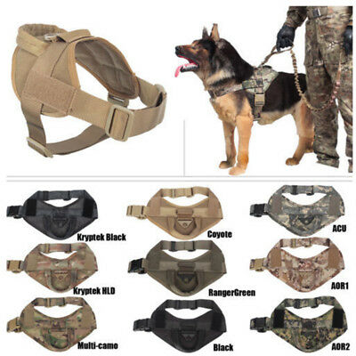 Tactical Military Training Service Dog Nylon Vest Police Patrol Harness Handle