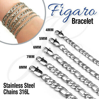 Stainless Steel 316L Figaro Chain Link Bracelet Men Women Glossy Silver Color
