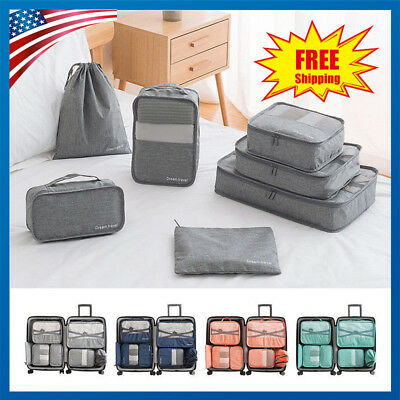 7Pcs Waterproof Travel Clothes Storage Bags Luggage Organizer Pouch Packing Cube