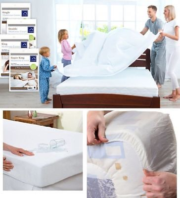 Fitted Mattress Protector Cover Sheet Single Double King Size Waterproof Vinyl