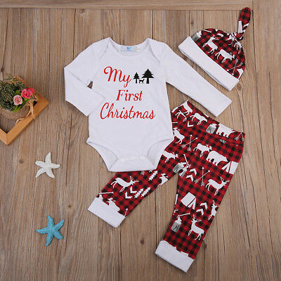 2018 My 1st Christmas Newborn Baby Boy Girl Romper Leggings Hat Outfits Clothes