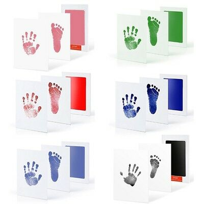 Baby Kids Touch Footprint Handprint Ink Pad+Paper  Mess Free Record Commemorate