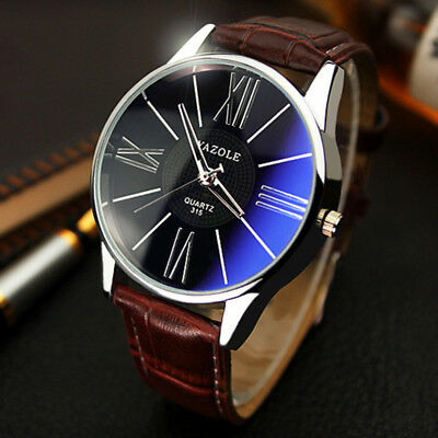 Men's Leather Military Casual Analog Quartz Wrist Watch Business Watches  CA