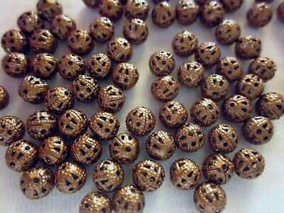 50 Antique Copper Coloured 6mm Filigree Spacer Beads #sp1228 Jewellery Making