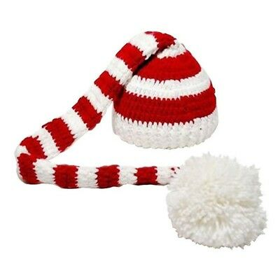 Christmas Crochet Knit Baby Photo Hat White Red F1L1