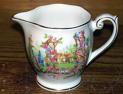 "1950s Rose Cottage England Fine Bone BELL CHINA Mini Creamer Gold Trim3 3/4""Tall"