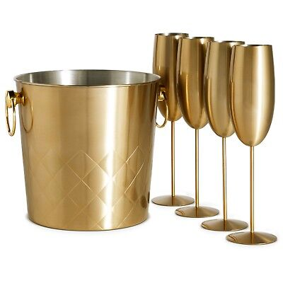 VonShef Champagne Bucket Brushed Gold 4x Glasses 5L Capacity Carry Handles