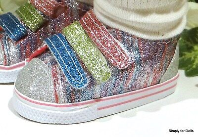 """RAINBOW Sparkle DOLL SNEAKERS Tennis SHOES fits 18"""" AMERICAN GIRL DOLL"""