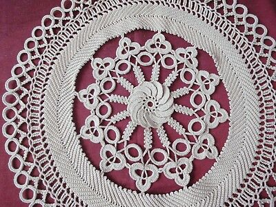 Lovely Vintage Handmade Round Cotton Crochet Ecru Tablecloth