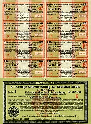 Five German 100,000 Mark Treasury Bonds, With All 8 Coupons-1923
