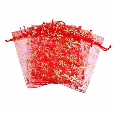 25 Pieces Snowflake Christmas Organza Gift Bags Wedding Favor Jewellery PoucheL7