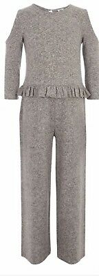 Wow River Island New With Tags Girls  Grey Cold Shoulder Frill Jumpsuit 11/12