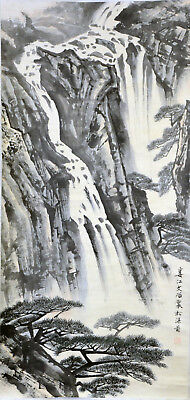 Vintage Chinese Watercolor CLIFF WATERFALL Wall Hanging Scroll Painting w MARK