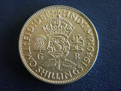 1940 British Silver Florin-2 Shillings -XF+ Condition-Stk#18-659