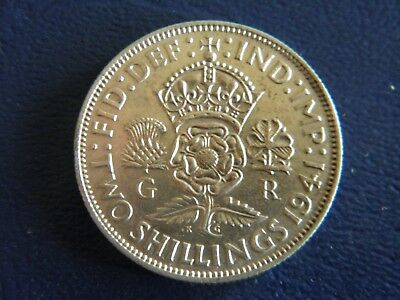 1941 WW2 British Silver Florin-2 Shillings -XF Condition-Stk#18-660