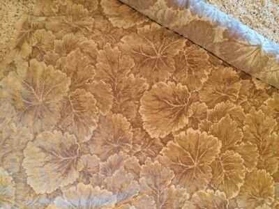 Gold Bronze Leaf Print Chenille Upholstery Fabric - 10 Yards