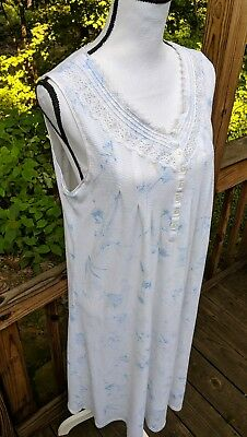 Komar Earth Angels Nightgown Size M Floral Print Sleeveless Lace Trim 183ed38f2