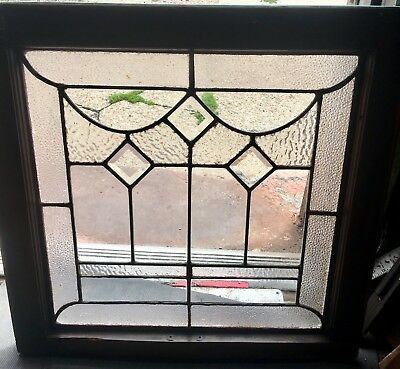3 Diamonds — Buffalo Architectural Leaded Window Heavy Beveled 1900's Rare