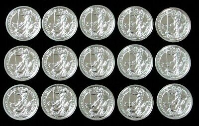 2013 Silver Great Britain 1/4 Oz 50 Pence Sealed Roll Of 15 Britannia Coins