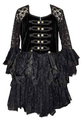 Dark Star Velvet /& Lace Buckle Gothic Medieval Long Dress Black /& Red L XL 1X