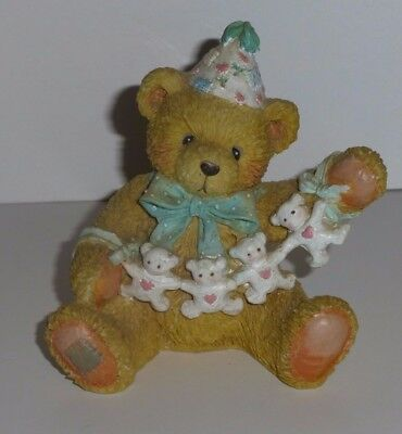 """Cherished Teddies Age 4, """"Unfolding Happy Wishes Four You"""" 1992 Resin Bear"""
