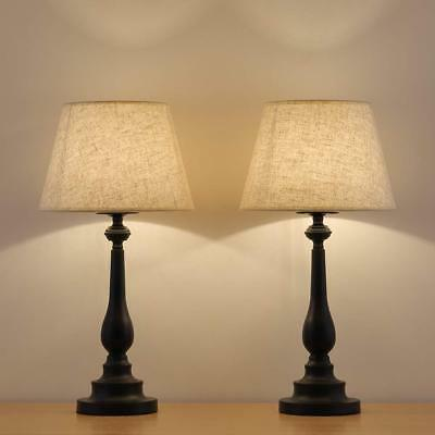 HAITRAL Table Lamps Set of 2 - Vintage Bedside Desk with Mini Metal Base and...