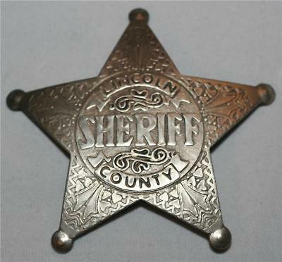 SHERIFF Pat Garrett Five Point STAR OLD WEST SILVER BADGE TOY PROP COSTUME New