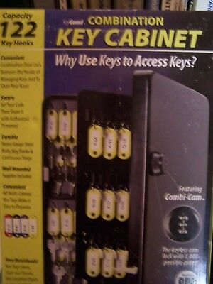 KeyGuard SL 9122 Keyles Combination Key Cabinet 122 Steel Key Hooks, 60 Key  Tags