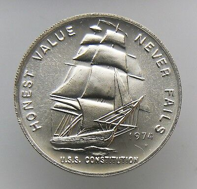1 OZ SILVER ROUND .999 FINE  Honest Value Never Fails U.S.S Constitution 1974