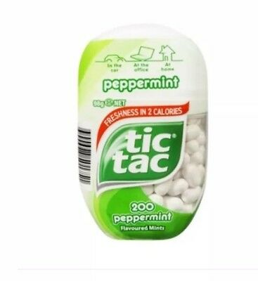 2 Packs of Tic TAC PEPPERMINT - 98g Each Pack - 200 Tic Tacs Per Pack - NEW