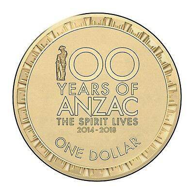 2016 Remembrance 100 Years ANZAC Lest We Forget $1 One Dollar UNC Coin RAM