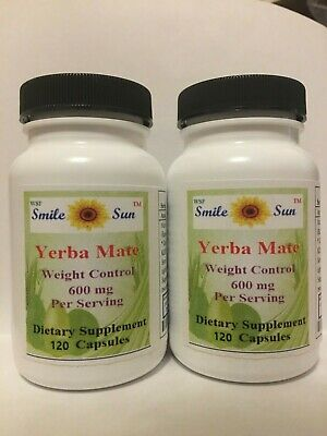 (2)Top Quality Yerba Mate,super weight control, 600mg /serving, 2X120 capsules