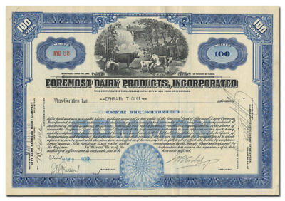 Foremost Dairy Products, Incorporated Stock Certificate