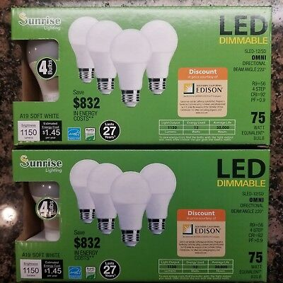 """8 LED LIGHT BULBS, NEW """" USES 12W A19 / E26 75W Equiv. Dimmable Free Shipping!!!"""