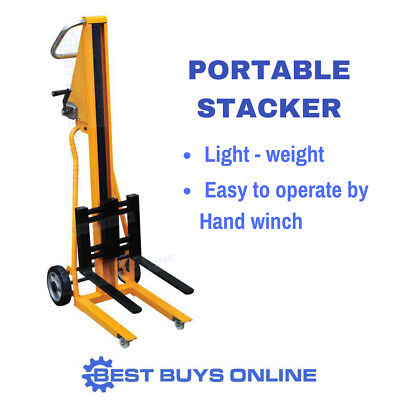 MANUAL STACKER LIFTING TROLLEY HAND WINCH Potable Mini Forklift