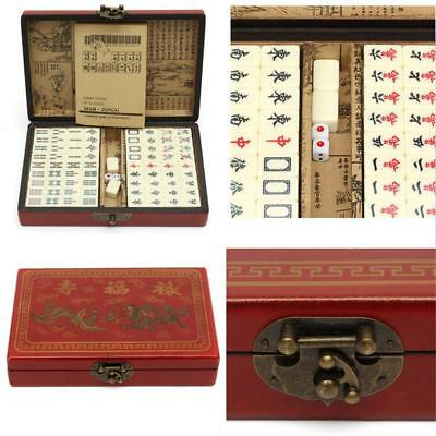 144 PCS Mahjong With Archaistic Leather Box Manual In English Chinese Game